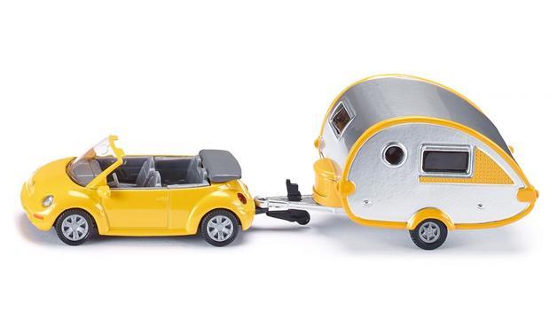 Siku: VW Beetle Convertible Car with Caravan