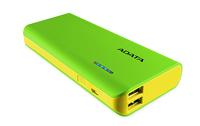 ADATA: PT100 10,000mAh Powerbank with Flashlight - Green/Yellow