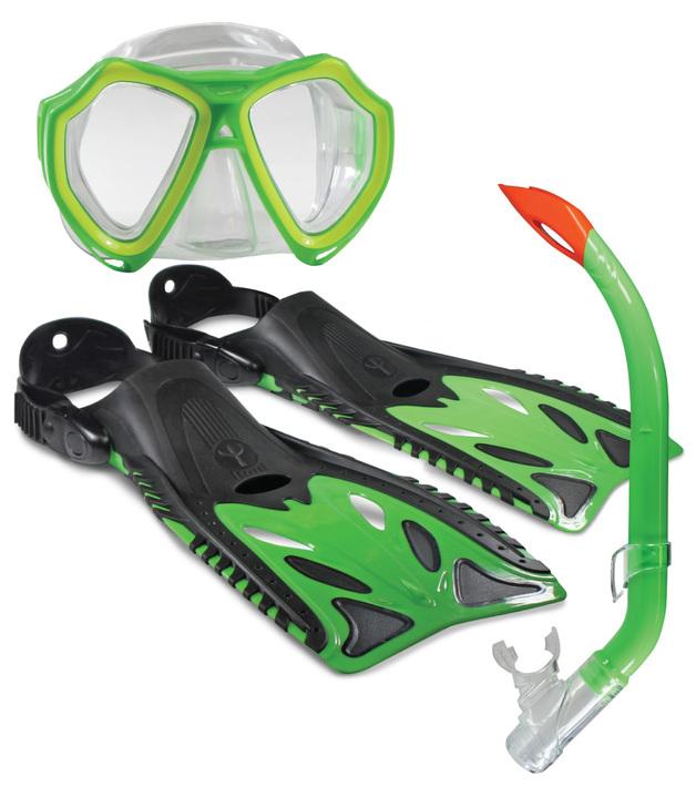 Land And Sea: Nipper Mask/Snorkel/Fin Set - Junior Size 8-12 (Green)