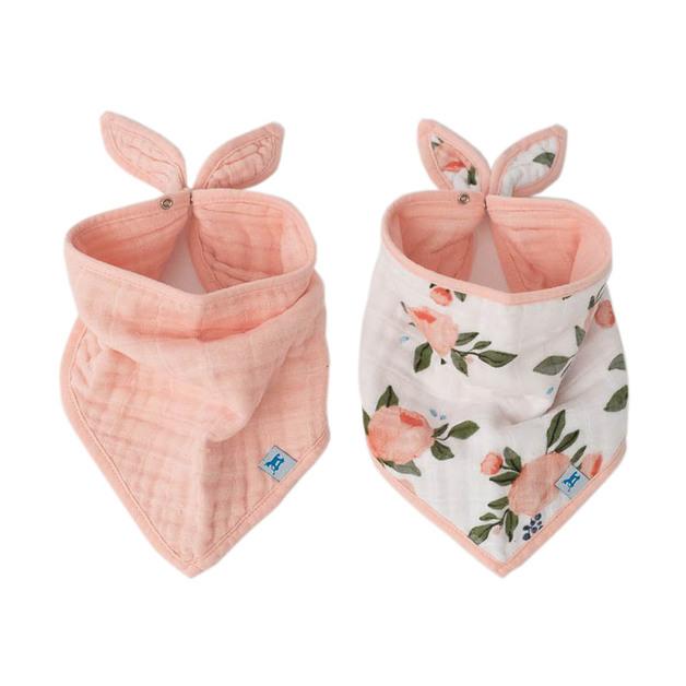 Little Unicorn: Muslin Bandana Bib - Watercolour Roses (2 Pack)