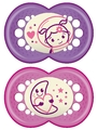 MAM Night Silicone Soother 4-24 Months - 2 Pack (Pink)