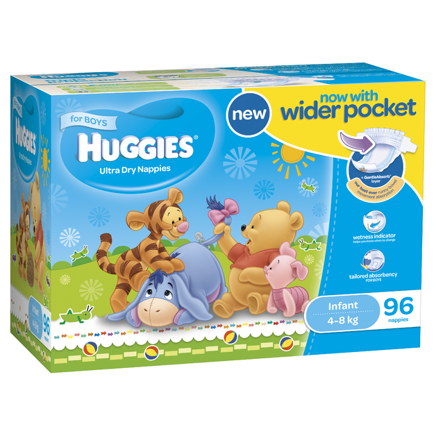 Huggies Ultra Dry Nappies: Jumbo Pack - Infant Boy 4-8kg (96)
