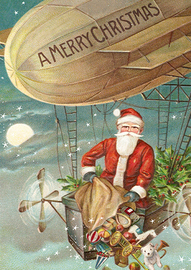 Madame Treacle: Santa In Hot Air Balloon - Greeting Card