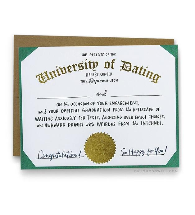 Emily McDowell: Dating Diploma Engagement - Greeting Card
