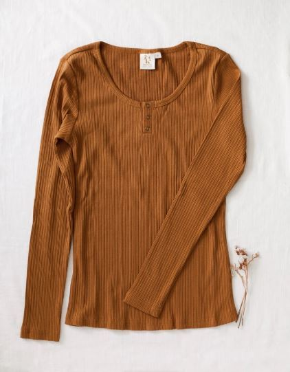 Karibou Kids: Ladies Willow Ribbed Long Sleeve Cotton Top - Antique Gold 10