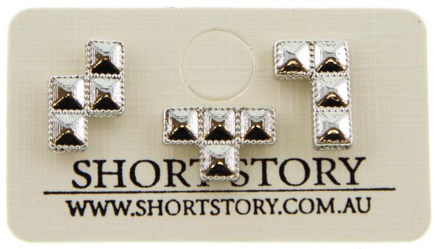 Short Story: Tetris TRIPLE LINE Earrings - Silver