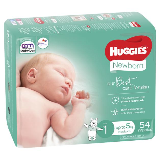 Huggies Ultimate Nappies Bulk - Size 1 Newborn (54)