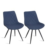 Fraser Country Modern Fabric Dining Chair with Metal Legs Set of 2 - Dark Blue