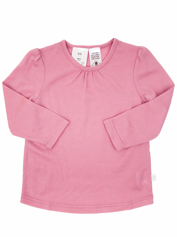 Babu: Merino Ruffle Long Sleeve T-Shirt - Pink (2 Year)