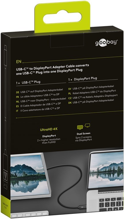 Goobay: USB-C to DisplayPort Adapter Cable (1.2m) - Black image