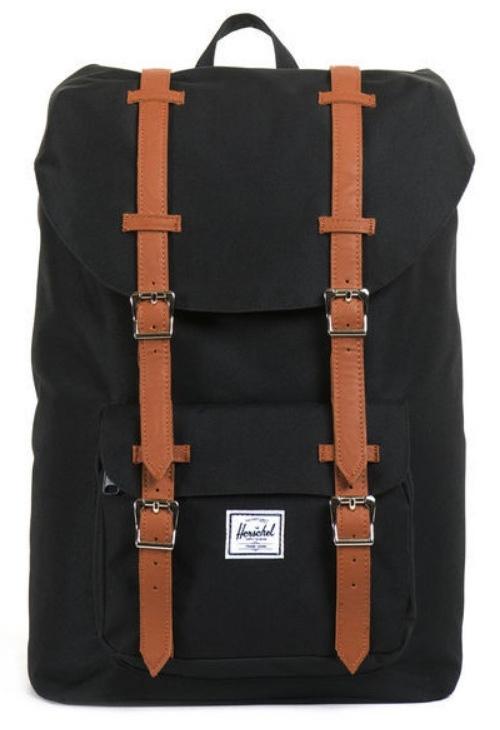 Herschel Supply Co: Herschel Little America Mid-Volume - Black/Tan Synthetic Leather