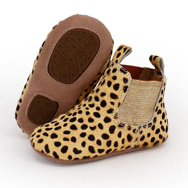 Skeanie: Pre-Walker Leather Riding Boots Leopard - Medium