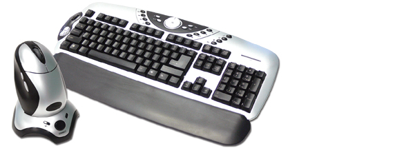 Laser Wirelessmax ergonomic cordless multimedia  keyboard with 5 button optical mouse and charger image
