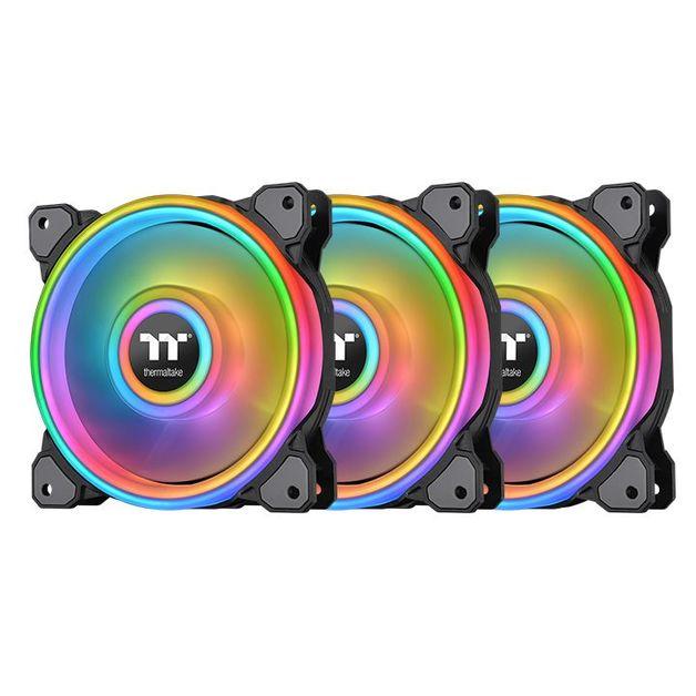 120mm Thermaltake Riing Quad 12 RGB Radiator Fan TT Premium Edition - 3 Pack (Black)