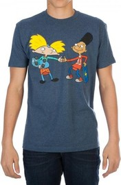 Hey Arnold! Fist Bump Mens Navy T-Shirt (Large)