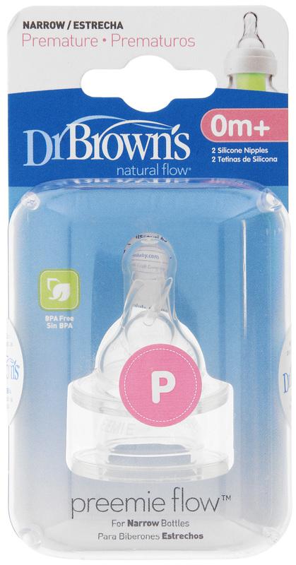 Dr Brown's Narrow Neck Preemie Teats - 2 Pack