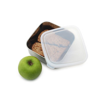 Kids Konserve: To-Go Square Stainless/Clear Container - Medium