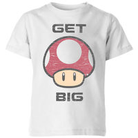 Nintendo Super Mario Get Big Mushroom T-Shirt Kids' T-Shirt - White - 11-12 Years image