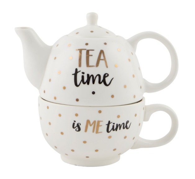 Metallic Monochrome Tea Time Teapot For One