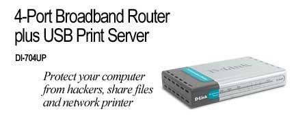 D-Link DSL/Cable Router, USB Print Server, 4 Port Switch
