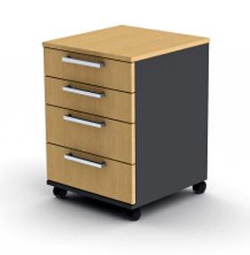Proceed 4 Drawer Mobile - W470mm x D480mm x H640mm