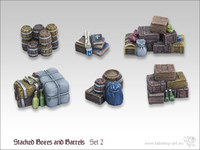 Tabletop-Art: Stacked Boxes & Barrels #2 - Parts Set