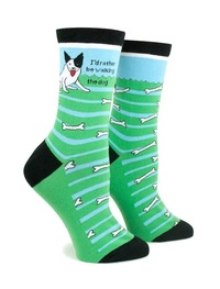 Anne Taintor: Walking The Dog - Ladies Crew Socks