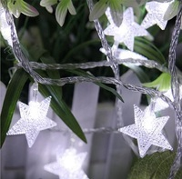 Frosted Crackle Star String Lights (40 LED)