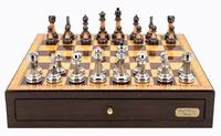"Dal Rossi: Staunton Metal/Marble - 18"" Chess Set (Walnut Finish)"