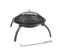 Round Foldable Fire Pit with Cooking Grill +Carry Bag (56x42cm) image