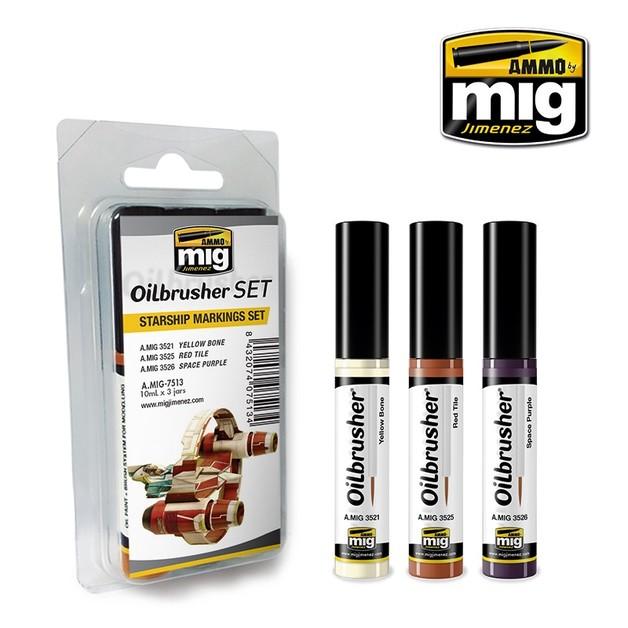 Ammo of Mig Jimenez: Oil Brusher Set: Starship Markings Set