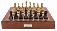 "Dal Rossi: Dark Cherry/Boxwood - 20"" Chess Set (Walnut Finish)"