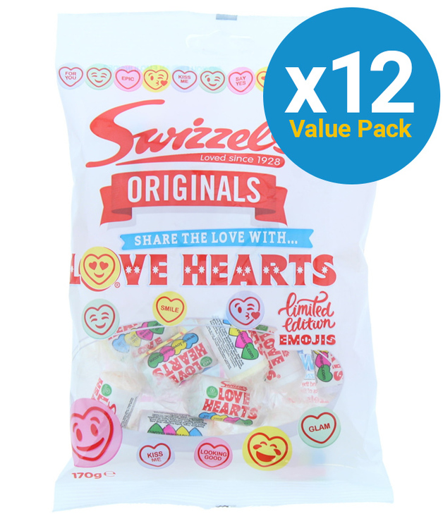 Swizzels: Orig Love Hearts 170g (12 Pack)