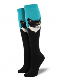 Socksmith: Cat Portrait Knee High Socks - Turquoise