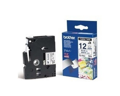 Brother TZe-FA3 Fabric Tape - Blue on White (12mm x 3m) image