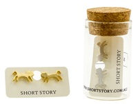 Short Story: Funky Play Earrings - Gold Jumping Cat