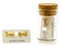 Short Story: Funky Play Earrings - Gold Jumping Cat