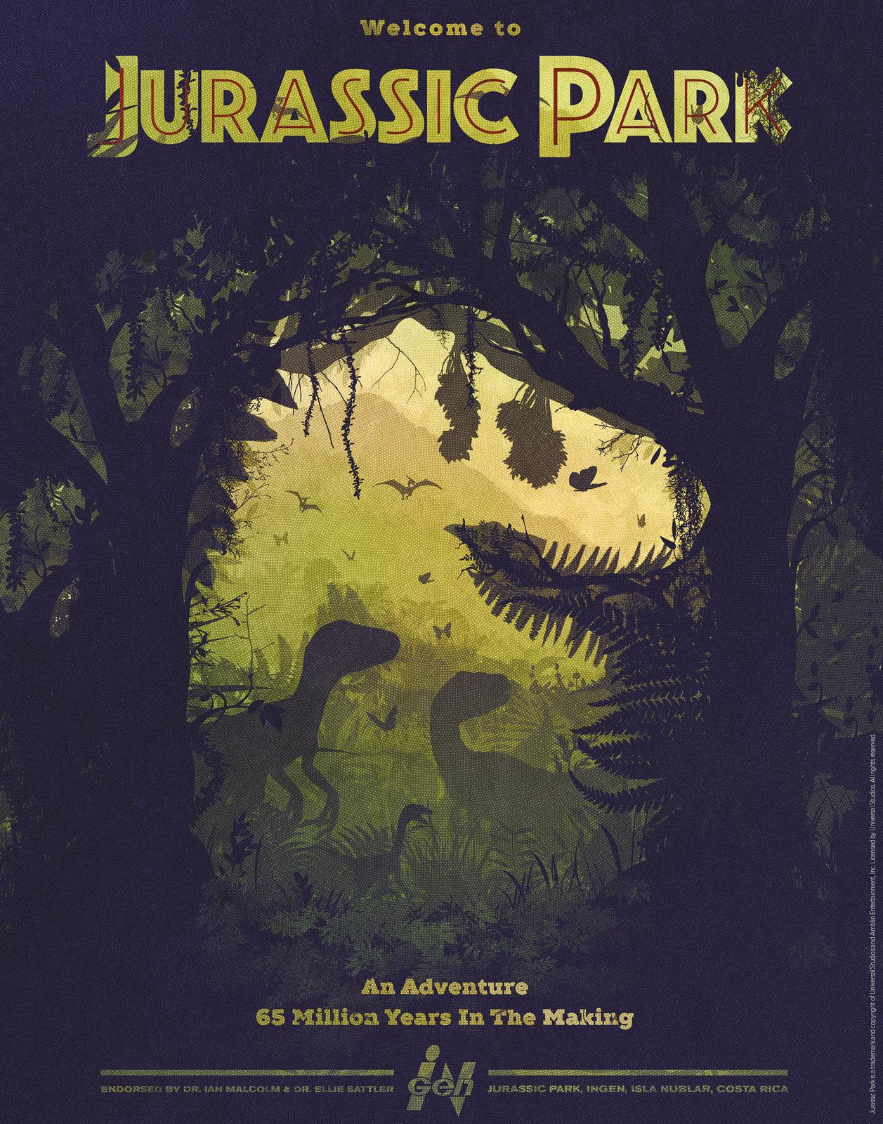 Jurassic Park: Premium Art Print - Silhouette image
