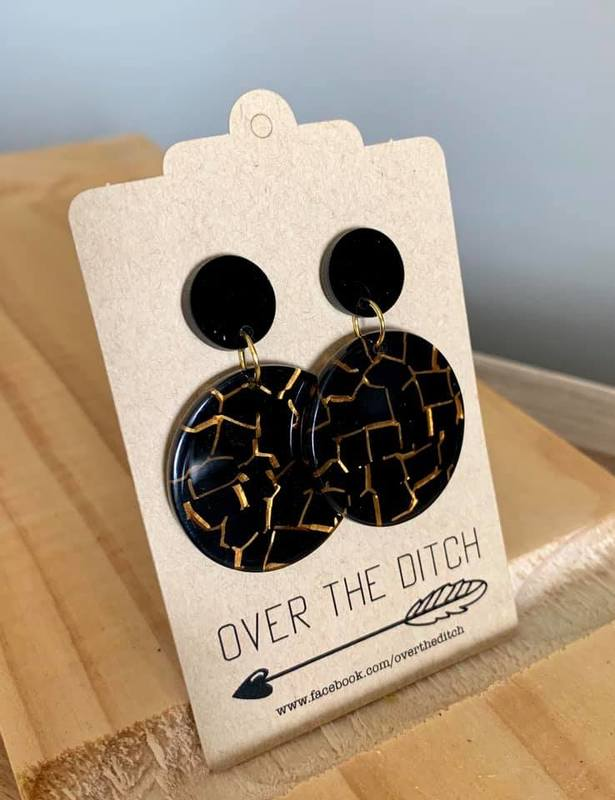 Over the Ditch: Black/Gold Marble Dangle Earrings