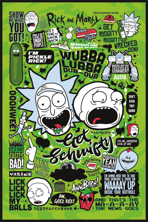 Rick and Morty Maxi Poster - Green Quotes (672)