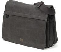 Troop London: Classic Flap Front Messenger Bag - Black