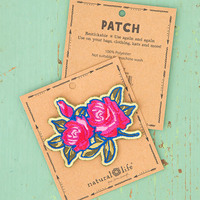 Natural Life: Restickable Patch Fabric - Roses Pink Blue