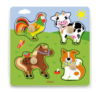 VIGA Wooden Toys: Wooden Knob Puzzle - Farm Animals