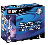 Emtec DVD+R 8.5GB Dual Layer Jewel Case - 5 Pack