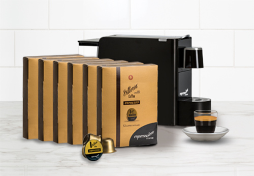 Vittoria Arabica 6 Pack Capsule Bundle with Free Capsule Machine