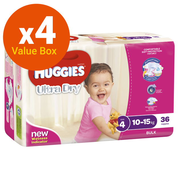 Huggies Ultra Dry Nappies Bulk Value Box - Size 4 Toddler Girl (144)