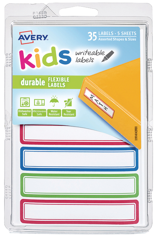 Avery: Kids Writable Labels - Green, Blue & Red Border