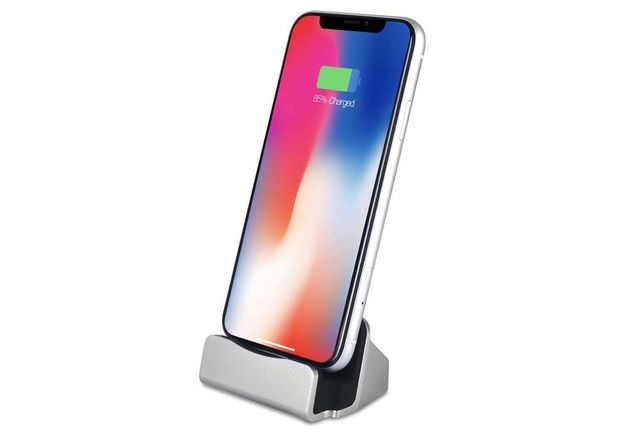 Charging Dock with Cable for Apple Devices - Silver