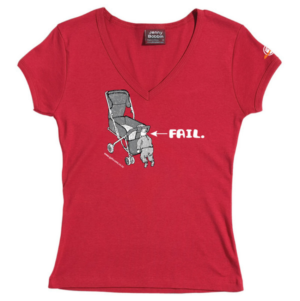 Baby Fail - Female V-Neck Tee (Red) for
