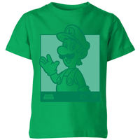 Nintendo Super Mario Luigi Kanji Line Art Kids' T-Shirt - Kelly Green - 3-4 Years image